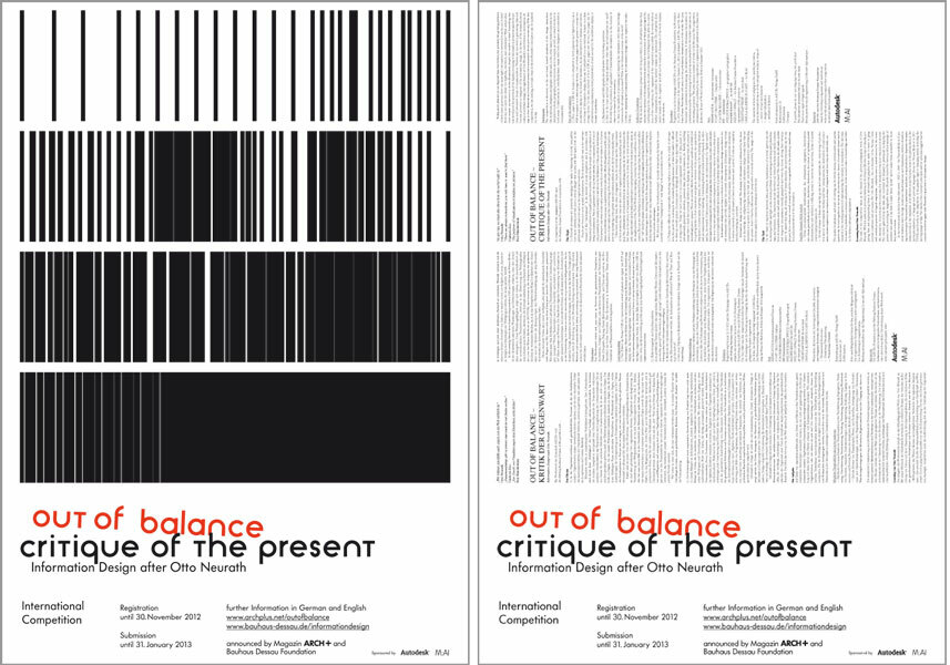 Meiré und Meiré's entry for the poster competition for the announcement of the international competition  'OUT OF BALANCE – KRITIK DER GEGENWART.  Information Design nach Otto Neurath'