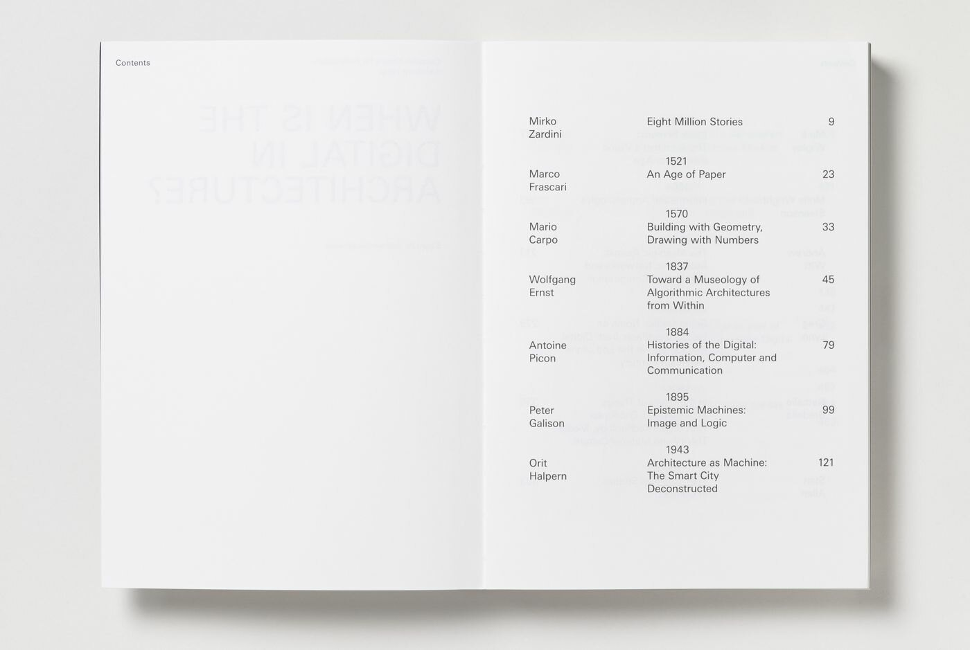 When Is the Digital in Architecture?, table of contents